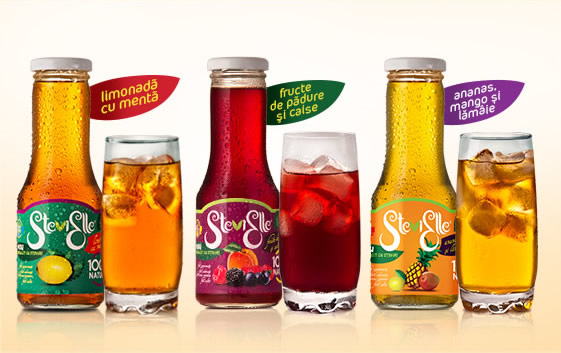 Instant and liquid natural juices sweetened with STEVIA